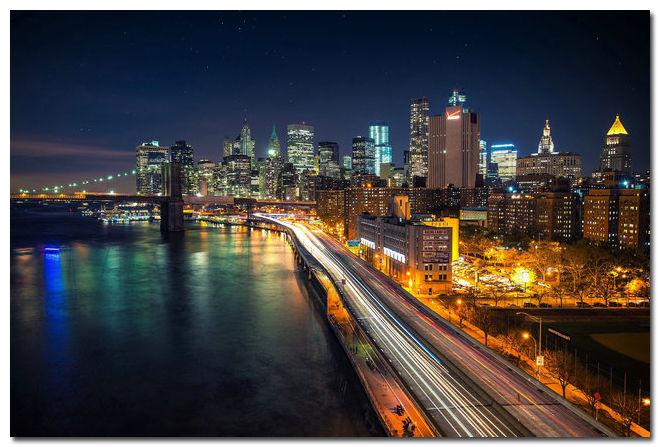 New York City Night Cityscape Art Silk Poster Brooklyn Bridge East River 24x36inch(China (Mainland))