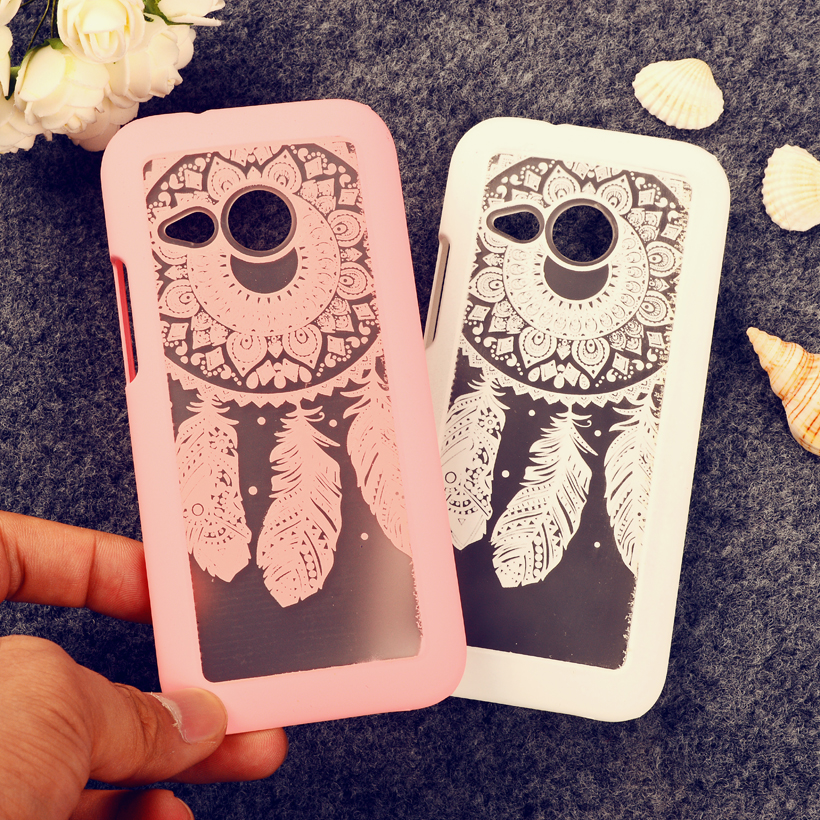 Rubberized Painted Dream Catcher mobile phone skin case Cover For HTC One 2 Mini M8 mini case Flower Pattern phone shell(China (Mainland))