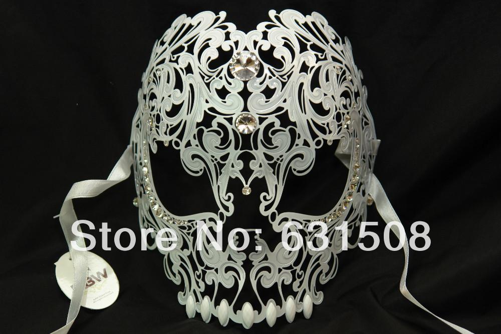 ! 2014 New Style, halloween Skull Laser Cut Metal Venetian Party Mask Rhinestone M7153W 3