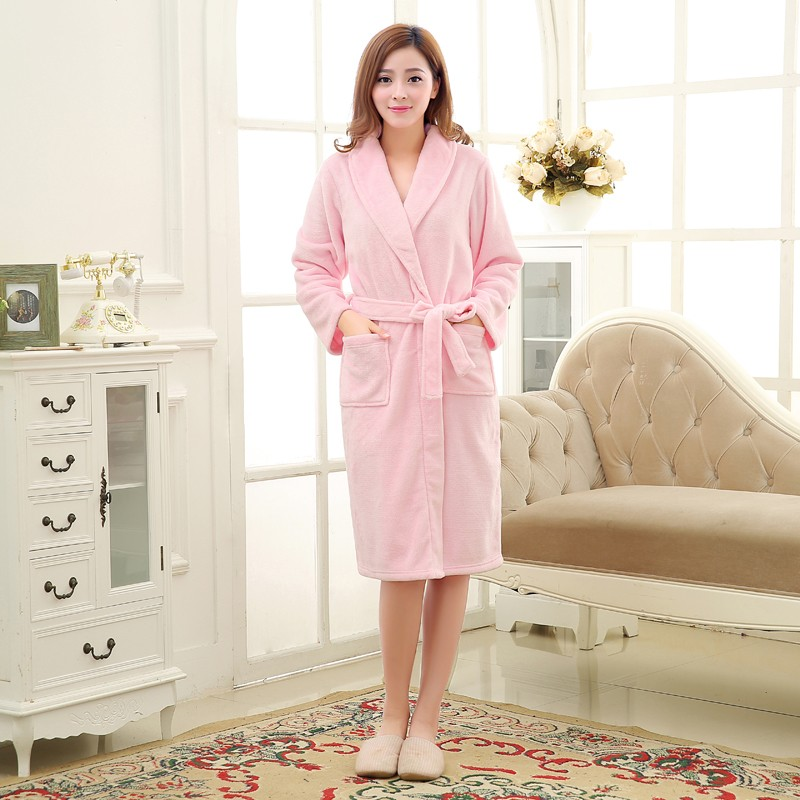 Unisex Mens Women\`s Long Polyester Sleep Lounge Robes RBS-C LYQ114 6