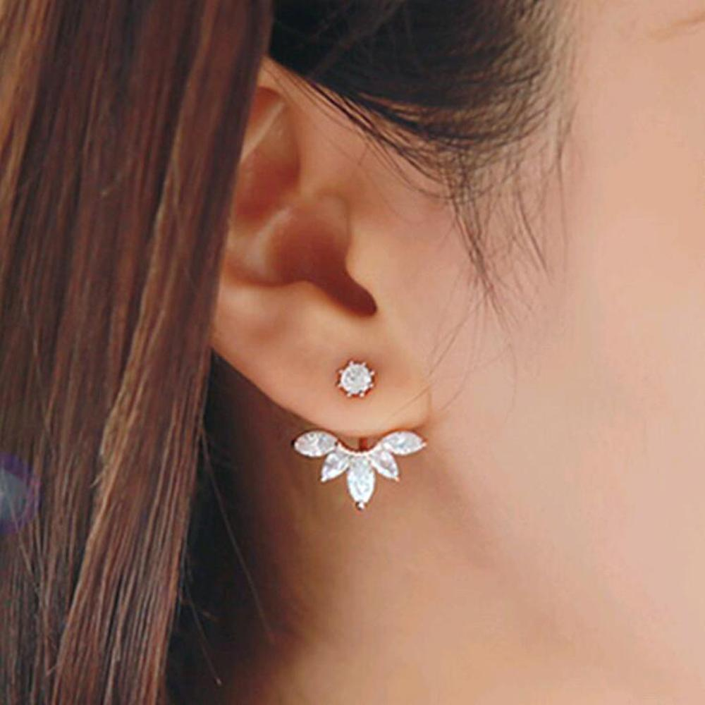 Korean style and leave a silver-plated crystal earrings fashion women statement earrings for party well, free shipping(China (Mainland))