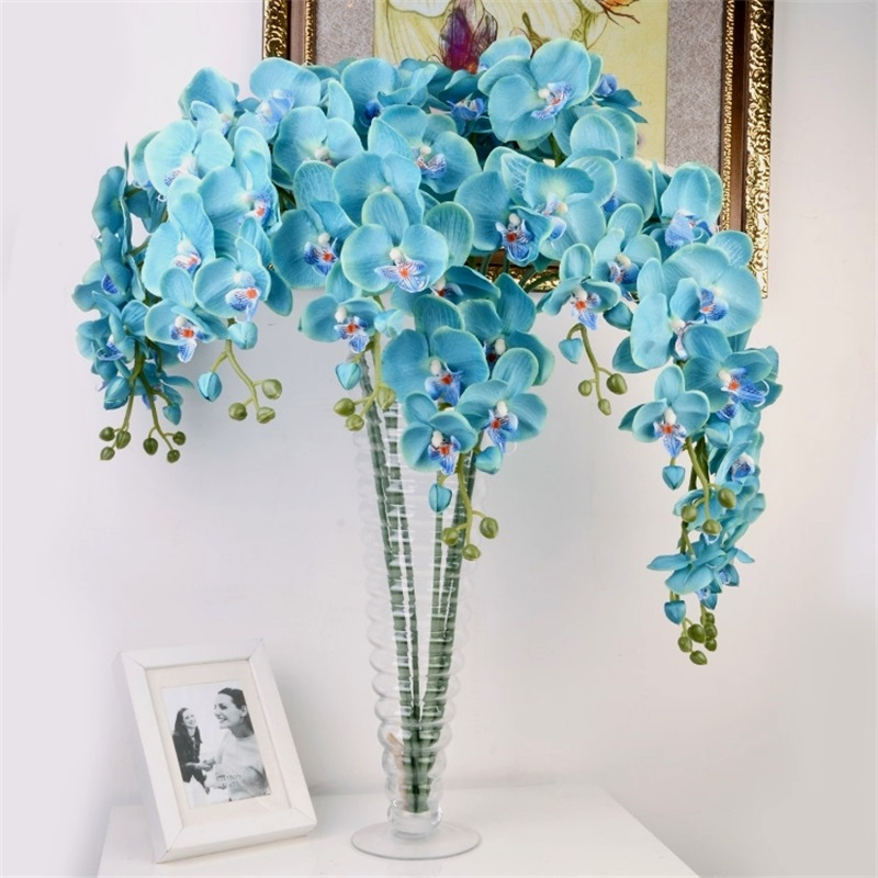 Real touch orchids silk flower butterfly artificial for Artificial flower for wedding decoration