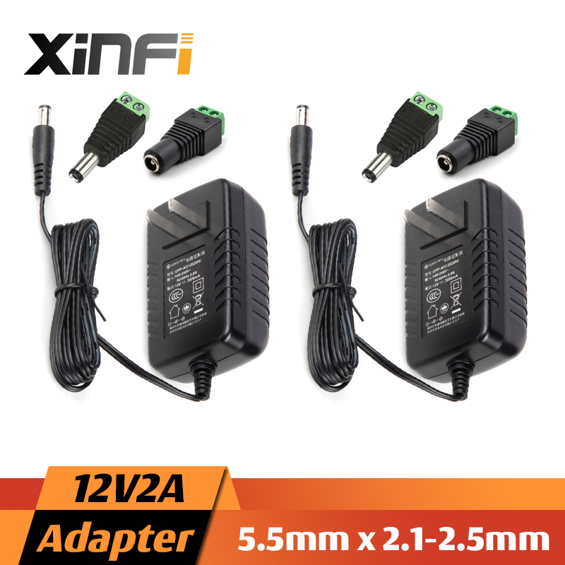 XinFi 2pcs 12V 2A/1A Power Supply AC 100V-240V Converter Adapter DC 12V2A 1A 2000mA EU / US Plug 5.5mm x 2.1-2.5mm for LED CCTV(China (Mainland))