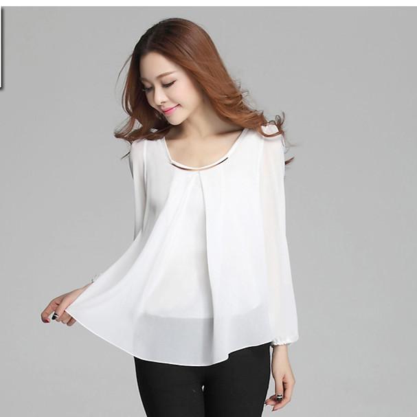 camisas blusas femininas 2015 summer tops women chiffon blouse shirt long sleeve ladies blouses plus size XXXL 4XL chemise femme(China (Mainland))