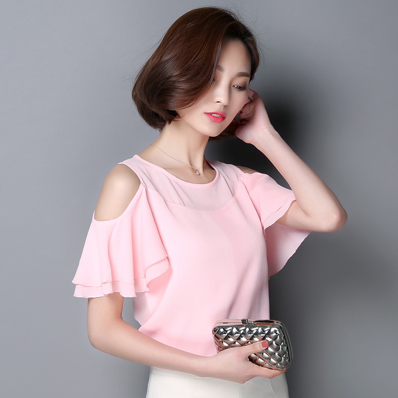 Chiffon Shirts Summer Style New Fashion Tops Elegant Strapless Plus Size Loose Shirt Casual Sexy Bottoming