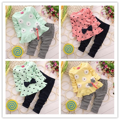 Autumn Spring Children Girl Clothing Long SLeeve Set Heart Flower Bowknowt Cute 2PCS Clothes Kids Twinset T shirt+Pants Legging(China (Mainland))