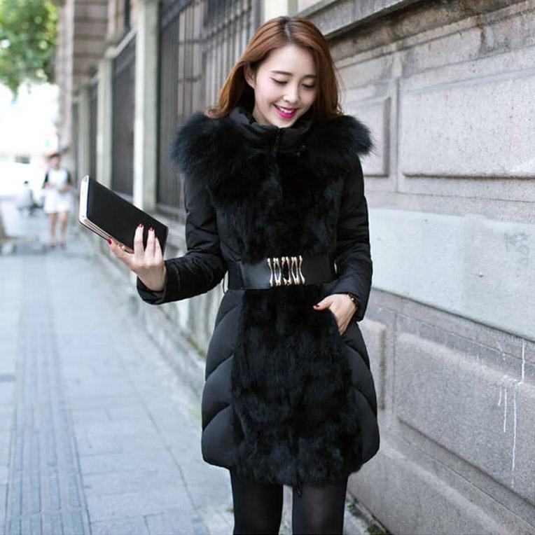 2015 Winter Coat Women Fashionable Luxury Slim Jackets Coats Long Parka Ladies Fur Collar Outerwear Manteau Femme