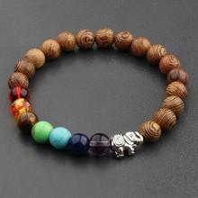 Amader 2017 męskie naturalnie drewniane i budda bransoletka z paciorkami 7 bransoletka medytacja Chakra Yoga kolorowe bransoletki dla kobiet ABJ002(China)