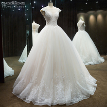 Buy Real Sample Bridal Beaded Line Lace Wedding Dress Sweet Straps Tulle Cap Sleeve Long Wedding Gown Robe De Mariage for $189.00 in AliExpress store