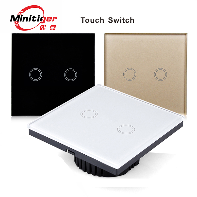 Intelligent waterproof wall switch, Touch Switch, The LED indicator, white glass panel, 110 ~ 240 v, the 2 - gang/eu standards