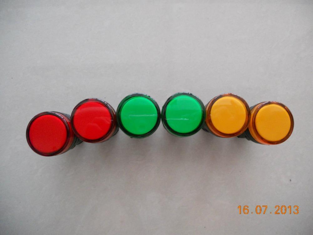 10Pc AC 220V Green LED Accident Indicator Panel Mount Signal Lamp Pilot Light(China (Mainland))