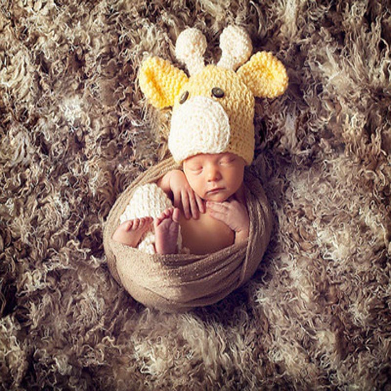 Baby Designer Knitted Crochet Animal style Lovely Yellow Deer Hat Caps Cool infant Hats Crochet Baby Hat(China (Mainland))