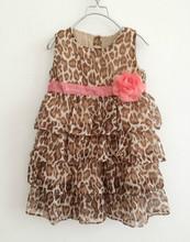2015 new fashion baby Girls TUTU dresses autumn Teenage princess chiffon leopard vestidos christmas dress elsa kids clothing