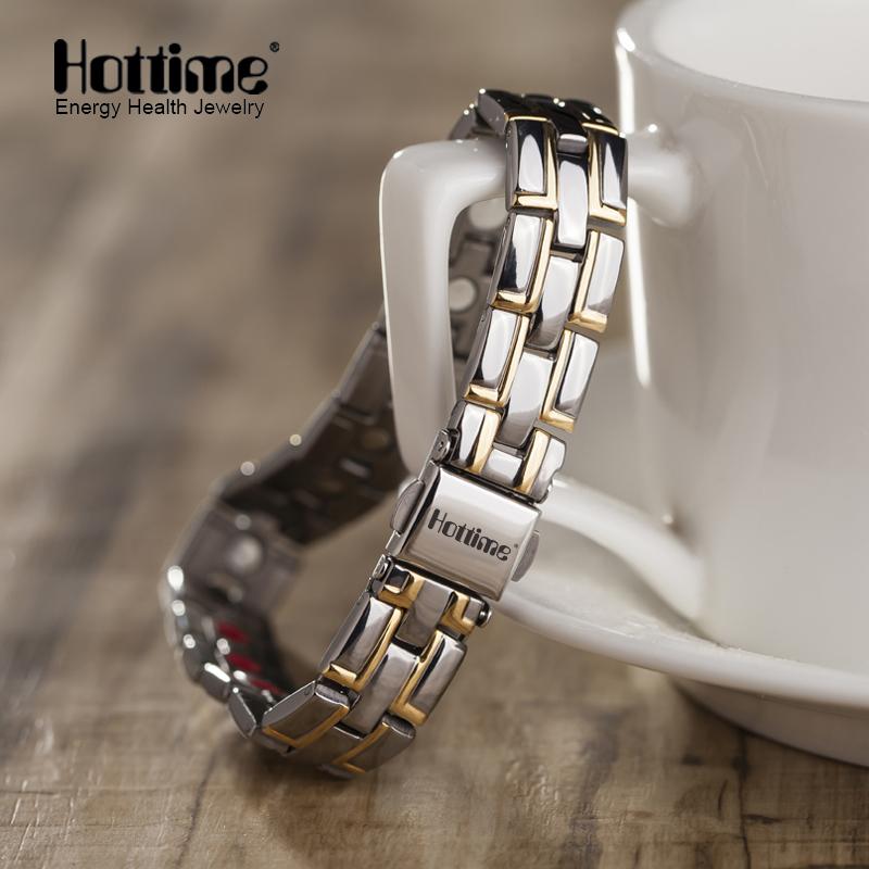 2016 Hottime New Fashion Men Jewelry Power Magnetic Titanium Bracelet Healing Male Bangle Free Shipping via AliExpress Standard(China (Mainland))