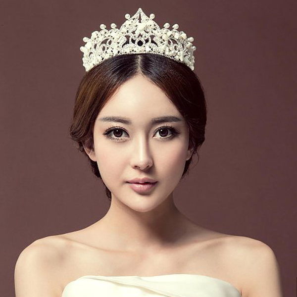 Chic Royal Regal Vintage Special White Gold Plated Simulated Pearls Seashells Elegant Tiara Crown For Wedding Prom Parties