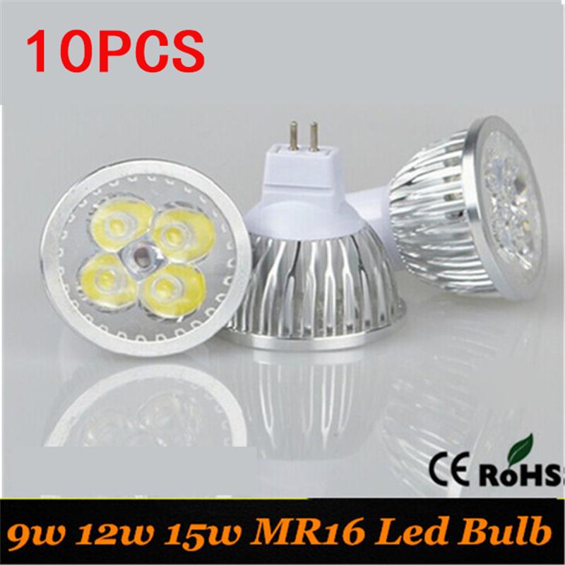 10pcs Free shipping NO Dimmalbe 12V MR16 LED Light 9W 12W 15W GU10 LED bulb lamp 220V LED COB Spot down light lamp bul(China (Mainland))