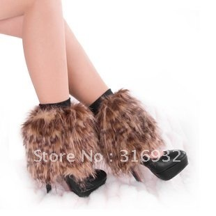 O5 Winter Faux Fur Leg Warmer Long Boot Cover 20cm, 8 styles to choose