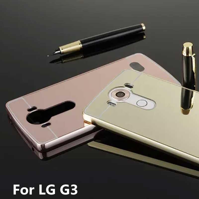 For lg g3 case d858 optimus 3 cases bumper golden plating for Miroir 9 cases