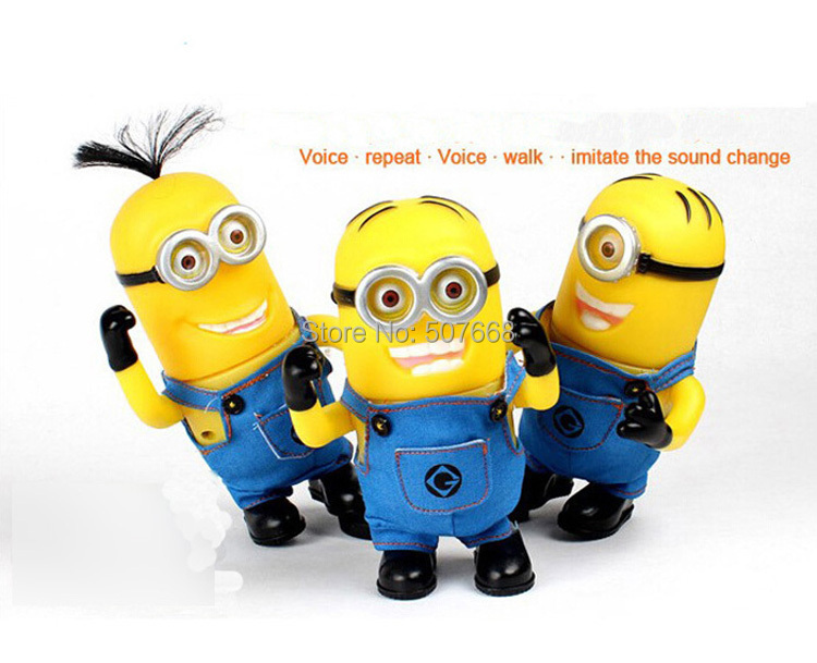 3pcs/lot Electric 3 D Eyes Despicable Me PVC material Recording the doll, Electronic Toys Talking Repeat Educational(China (Mainland))