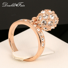 Buy Double Fair Brand Unique Cubic Zirconia Ball Rings Rose Gold Color Fashion CZ Stone Wedding Ring Jewelry Women DFR024 for $3.59 in AliExpress store