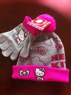 2015 winter newest free shipping retail baby girl cartoon Hello Kitty winter cap+glove warm cap and glove 2pcs set 3-6year(China (Mainland))
