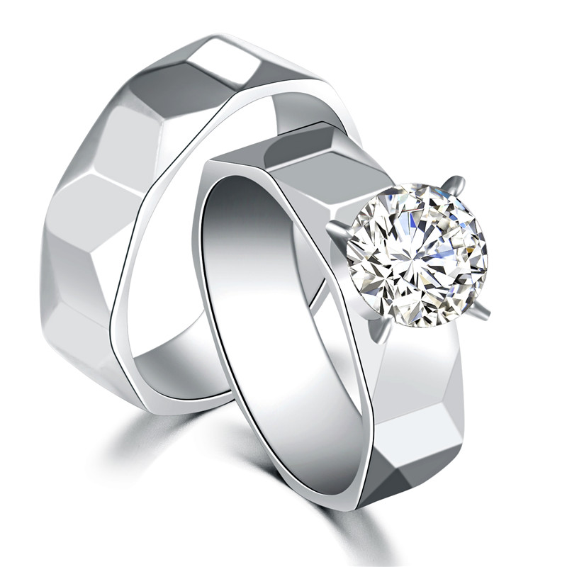 Top Quality Never Fade REAL Stainless Steel Overlap CZ Stone Rings 2 Rings Bridal couple Sets By Pair(China (Mainland))