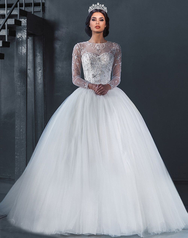 Aliexpress Buy 2015 Princess Luxury White Sheer Lace Beaded Long Sleeve Ball Gown Wedding