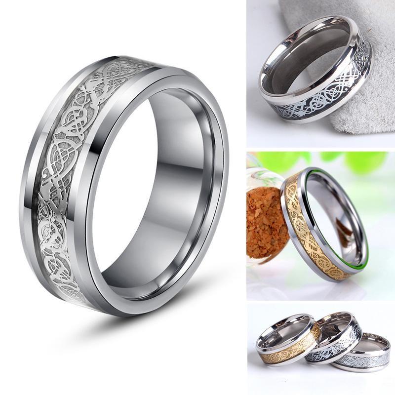 Fashion-Men-Women-8MM-Width-Celtic-Dragon-Titanium-Steel-Men-Ring-Wedding-Band