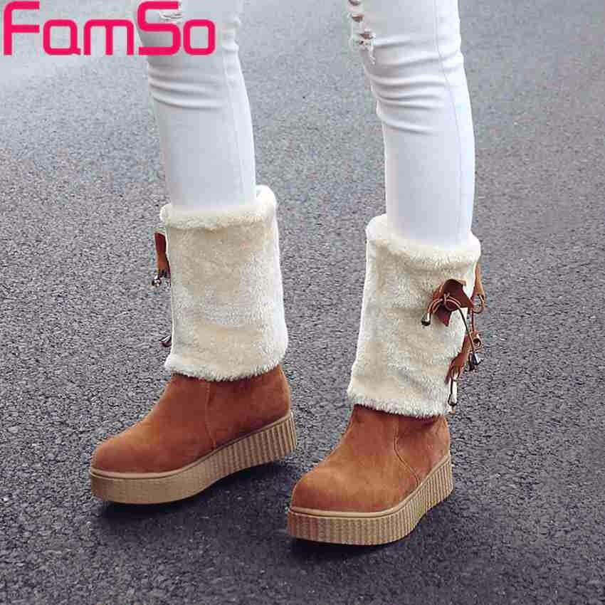 ซื้อ ขนาดบวก34-43 2016มาใหม่รองเท้าผู้หญิงสีดำสีน้ำตาลสีเหลืองกลางลูกวัวขี่บู๊ทส์ฤดูหนาวรัสเซียรองเท้าหิมะขนSBT3934