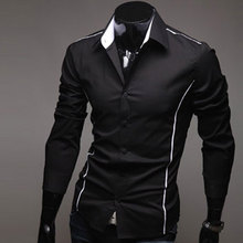 2016 New Mens Luxury Casual Shirt Dress Shirt Slim Fit Long Sleeve Business Shirt Top 005(China (Mainland))