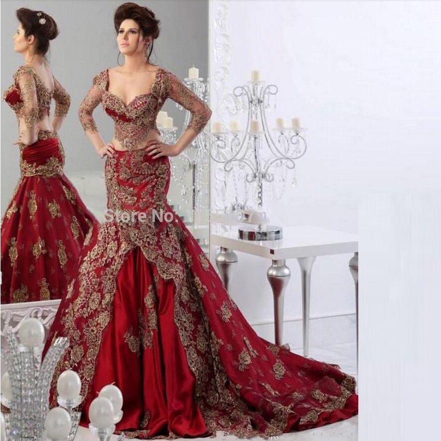 2015 kaftan dubai arabic red wedding dresses sweetheart for Red wedding dresses with sleeves