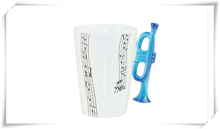 Creative Music Trumpet Enamel Cup/Novelty Ceramic Music Cup Note Mug Great Gifts