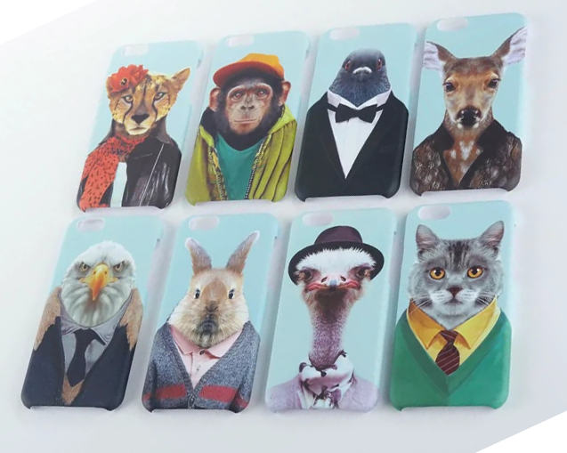 Cute Cartoon Zoo Dove Cat Rabbit Ostrich Chimpanzee Eagle Sika deer Leopard Hard PC Case Cover For IPhone 6 4.7inch(China (Mainland))