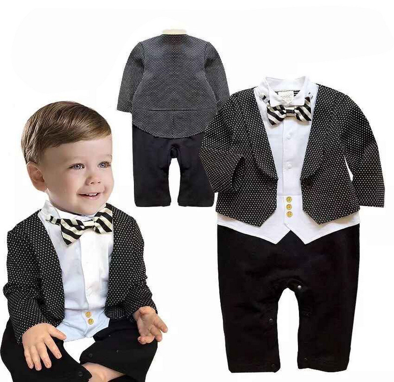 Baby Rompers New Baby Boys Romper Gentleman Modelling Infant Long ...