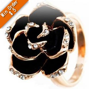 2015 New Fashion The High-grade Imported Jewelry Black Rose Flower Ring Open Ring R597(China (Mainland))