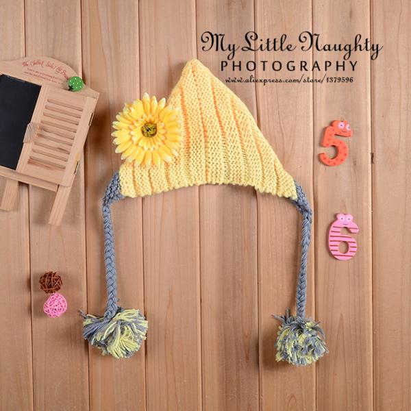 2015 infant yellow daisy floral flower pom pom pixie crochet knitted hat photography props newborn recem nascido fotografia(China (Mainland))