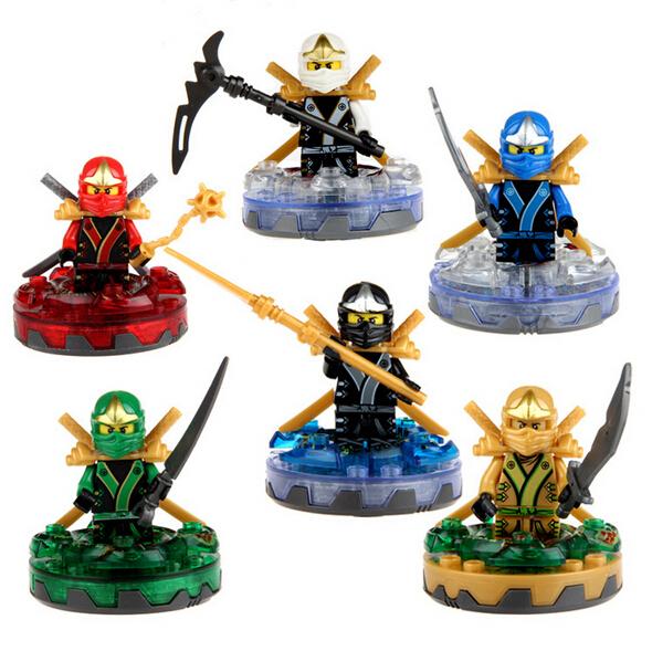 Hot 6/pcs NINJAGO Golden Ninja 5 generations spinning top fight inserted toy building blocks Minifigs no box Lego Compatible(China (Mainland))