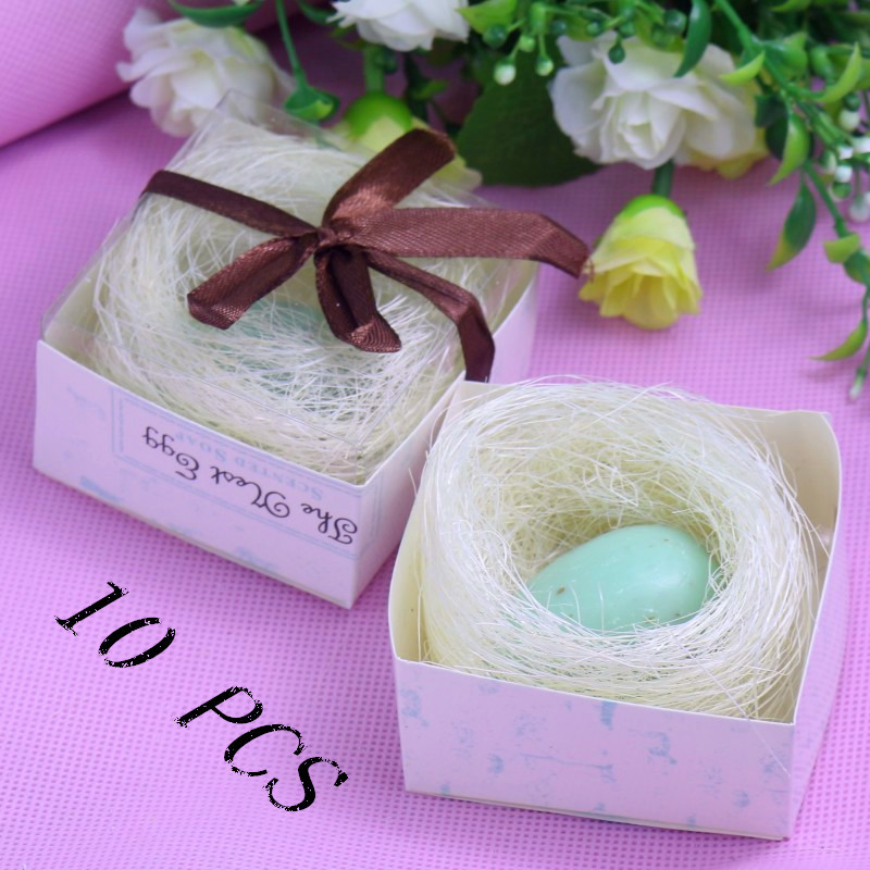 10 Boxed Love Birds Pink Blue Egg Soap Boxed with Bird's Nest Baby Bridal Shower Christmas Wedding Home Party Favors(China (Mainland))