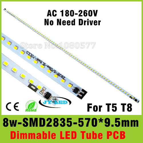 AC 220v Directly 8W T5 T8 LED Tube PCB Aluminum Plate Driverless with SMD2835 Epistar Chip Cold White/Warm White(China (Mainland))