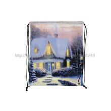 four pcs/lot castle surrounded by snow printed customized kids drawstring backpack xmas decoration foldable shopping bags(China (Mainland))