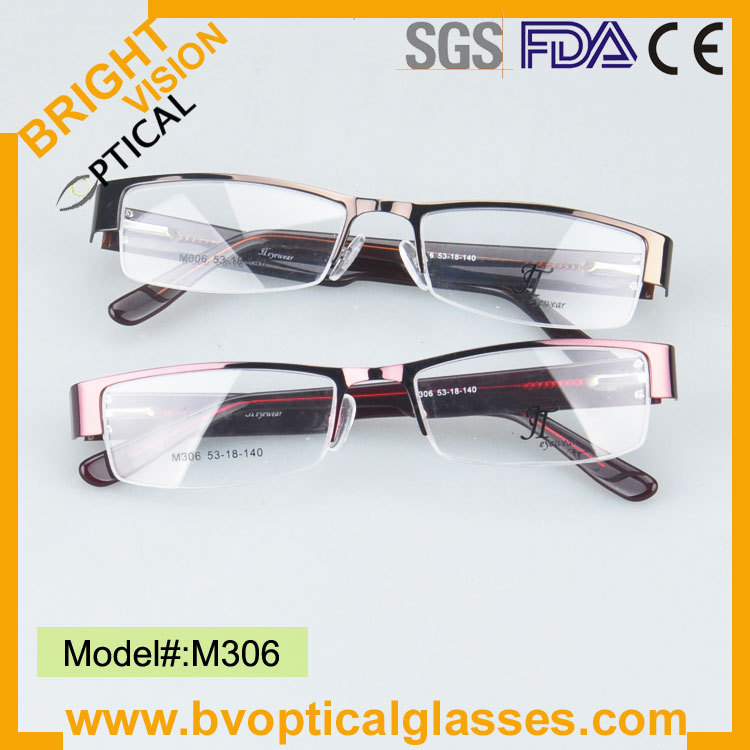 Free shipping high quality wide temple eyeglasses metal optical frame with spring hinge(M306)(China (Mainland))