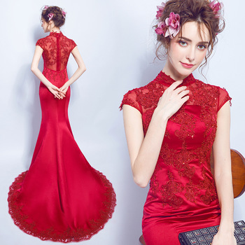 plus size cheongsam chinese style traditional embroidery 2017 women long lace red wedding qipao dresses high quality mermaid