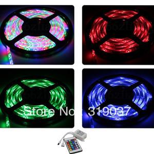 RGB 3528 Non Waterproof 10X5M 60leds M Flexible Strip Lights 24Key IR Controller<br><br>Aliexpress