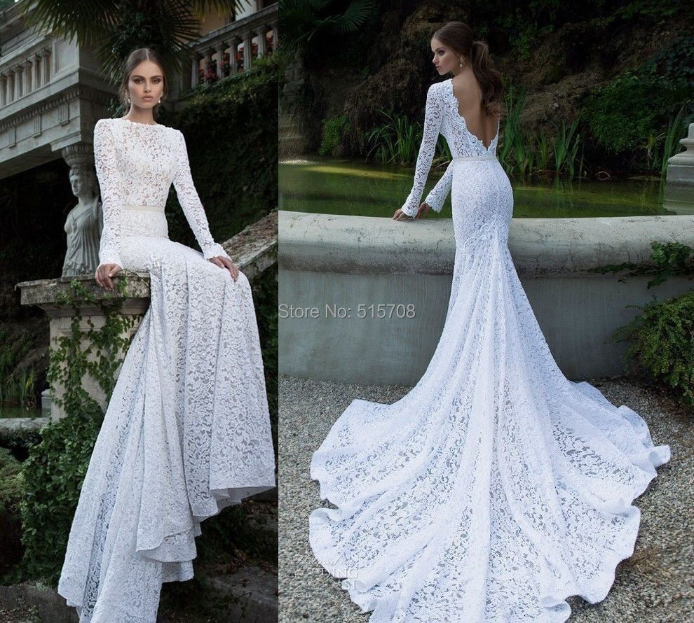 Trumpet Mermaid Full Sleeve Backless Chapel Train Lace Wedding Dresses White Ivory Bridal Gowns - Shop515708 Store store