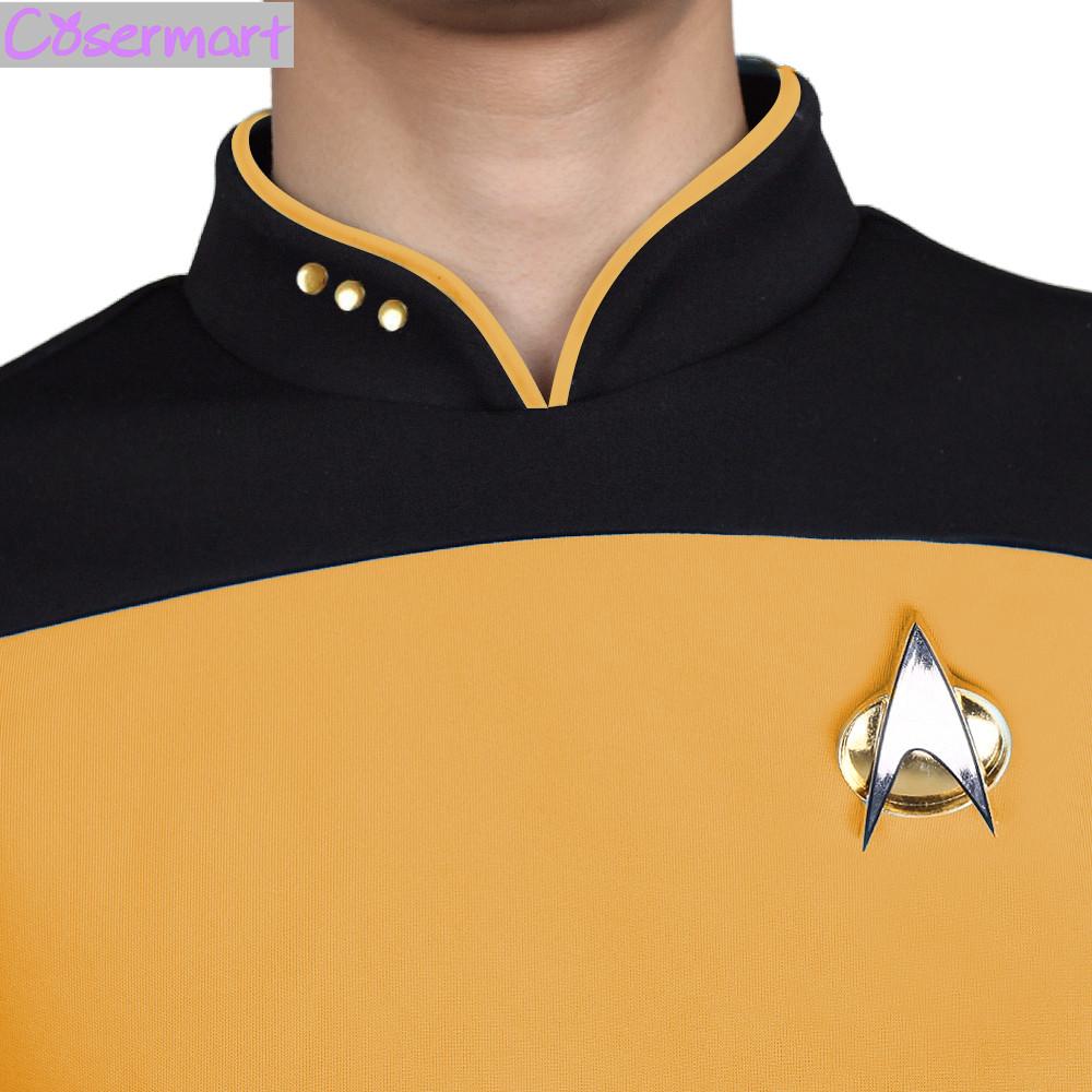 Star Trek TNG The Next Generation Red Yellow Blue Shirt Uniform Cosplay Costume For Men Coat Halloween Party (5)