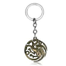 RJ Game of Thrones Móc Khóa Nhà Sói Mặt Dây Móc Chìa Khóa MỘT Bài Hát Của Băng Và Lửa Nhà Targaryen Rồng Móc Khóa quà lưu niệm Quà Tặng(China)