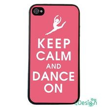 Fit for iphone 4 4s 5 5s 5c se 6 6s plus ipod touch 4/5/6 back skins cellphone case cover Luxury Keep Calm And Dance On Pink