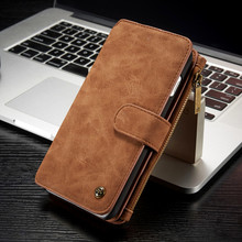 Brand Luxury Leather Case for iPhone 7 Plus Magnetic Wallet Cover Zipper Bag for iPhone 7 Plus Multifunctional Mobile Phone Case