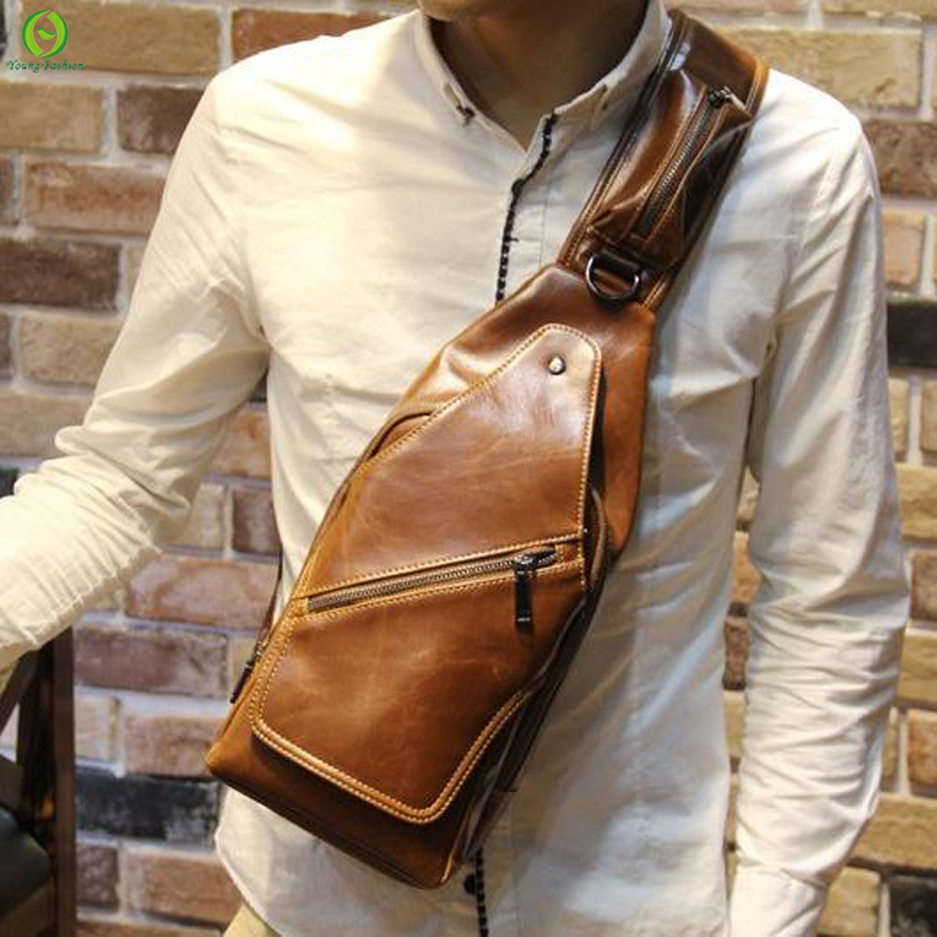 new Fashion Vintage Men Messenger Bags Outdoor Travel Hiking Sport Male leather Casual Chest Small Retro Military Shoulder Ba