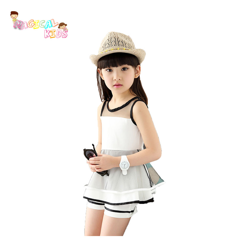 Fashion 2pcs Set Girls Kids Clothes Sleeveless Chiffon Mesh Tops+Shorts Baby Girls Summer vetement enfant fille(China (Mainland))